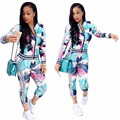 2017 Autumn New Fashion print 2 piece set women Casual sexy women jacket Long sleeve two piece Tracksuits chandal mujer completo