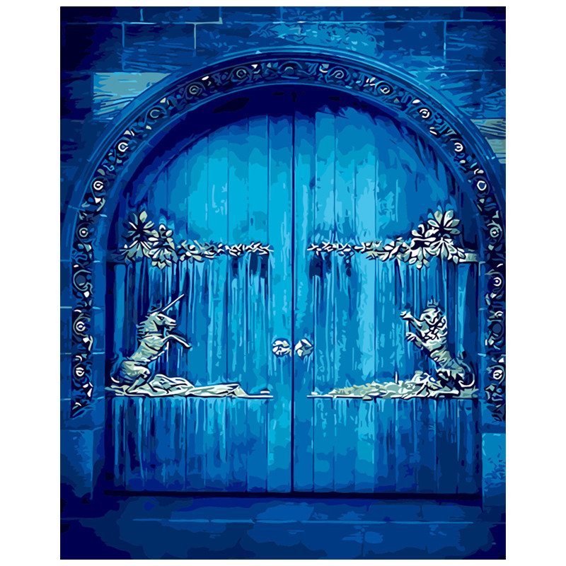Gate imagination of the door Oil Painting picture By Number Digital Picture  Coloring by hand Unique room Gift Home Decoration| | - AliExpress