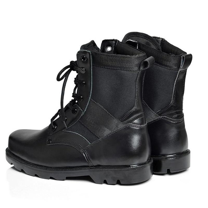 Bottes Aa10272 Cuir D'hiver De Cheville Mode Chaussures Militaire Tactique Chaud Lacent Confortable Hommes Noir Fendu OuXZiPkT