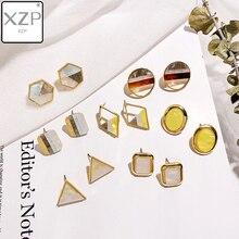XZP 7 Styles Korean Earrings New Simple Colorful Print Acetic Acid Irregular Geometric Stud Women Shell Petals Jewelry