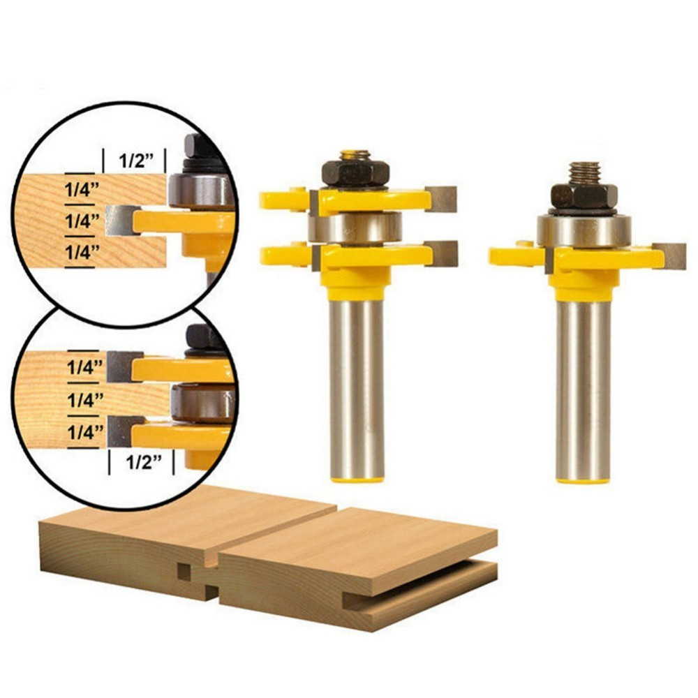 2pcs Woodworking 3 Teeth Mathched T-Shape Tongue Groove Router Bit Rabbeting Cutter Set 1/2 * 1/4 Inch 2 pc 1 2 sh 1 2 3 8 rabbeting