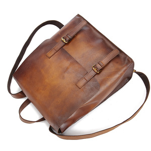 Image 3 - Johnature 2020 New Genuine Leather Backpack Women Bag Cow Leather Vintage Solid Color Backpacks Women Fashion Travel Bag