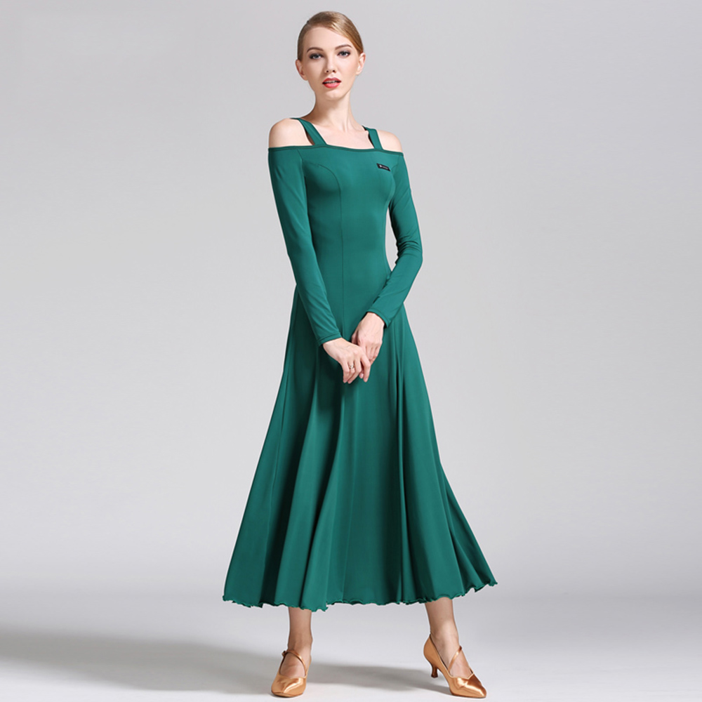 Picture of 2017 New Ballroom Dance Dress For Women Strapless Long Sleeve Waltz/Tango-Dancing Standard Ballroom Dance Dresses For Sale