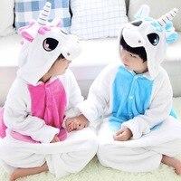 Unisex Children Clothing Pink Blue Unicorn Animal Pajamas Sleepwear Jumpsuit Cosplay Costumes Kids Clothes Flannel Onesie