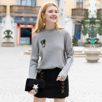 2018 New Women's Turtle Neck Warm Slit Bottom Sweater Pullover