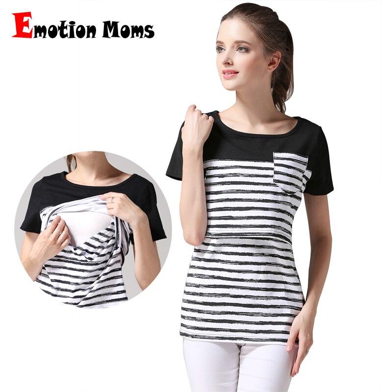 Emotion Moms Manicotto a maniche corte Abbigliamento maternità Allattamento per allattamento Top Abbigliamento per le donne incinte Camicie infermieristiche di taglia