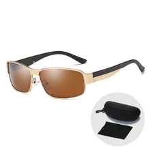 Brand Metal Frame Men Polarized Sunglasses Fashion Vintage Rectangle Anti-glare Cool Outdoor Driving Sun Glasses with Zip Case