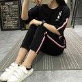 Conjuntos das mulheres 2016 Verão Listrado O-Neck Metade Mangas Terno Para mulheres Tops T Shirt e Calções Set 2 Peça Definir Mulheres treino