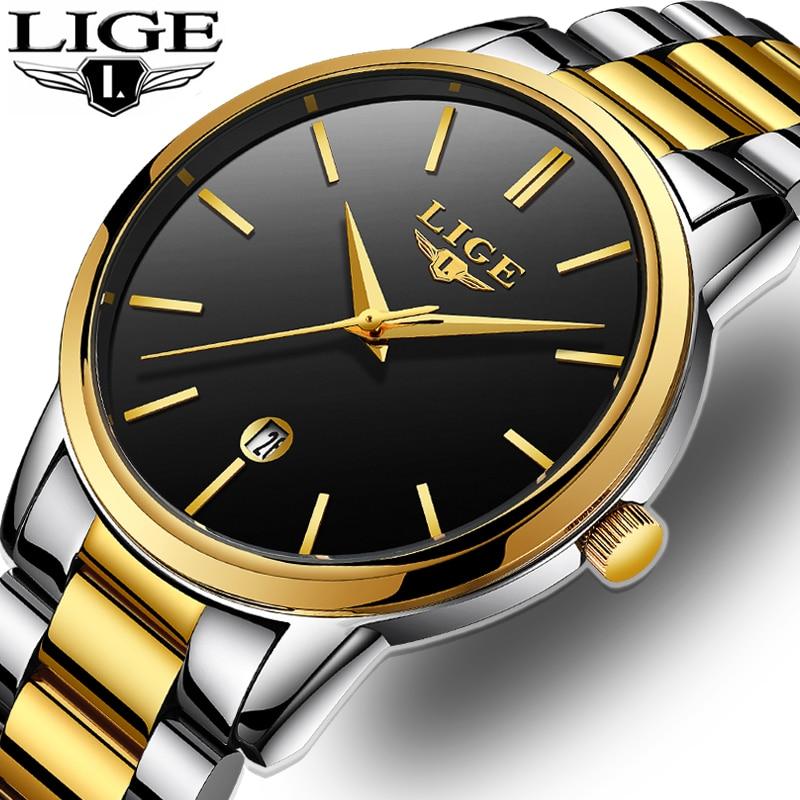 все цены на 2018 LIGE Mens Watches Top Brand Luxury Military Quartz Watch Men Waterproof Stainless Steel Sport Wristwatch Relogio Masculino онлайн