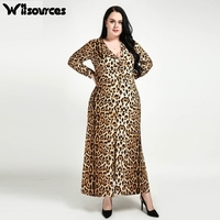 38eb4256192 Witsources women long sleeve leopard print long dresses V neck oversized  plus size casual dress SD4303