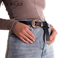 Wink Gal Women Belt Vintage Faux Leather Metal Clasp Buckle Waistband 2016 Fashion W10417
