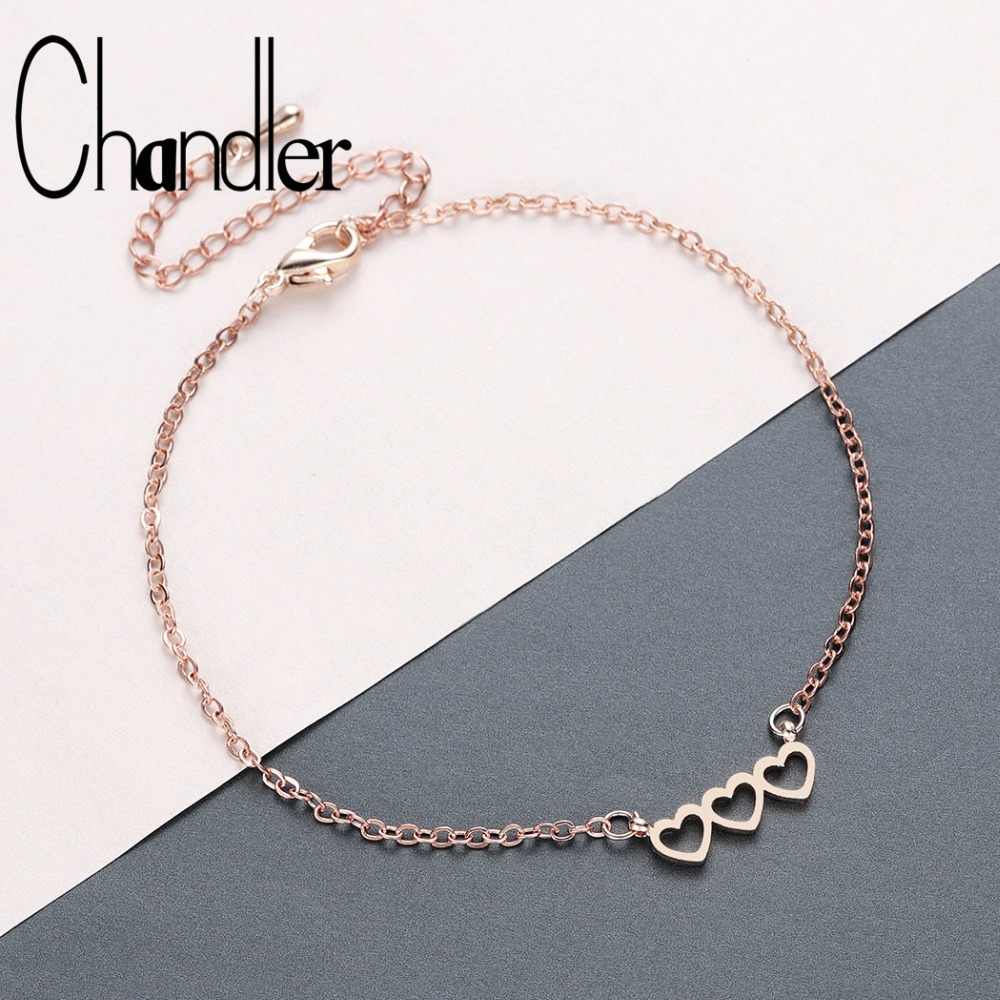 Chandler Three Heart Bracelets Dainty Love Charm Bangle For Women Girls the Best Gift For Her Femme Stainless Steel Jewelry