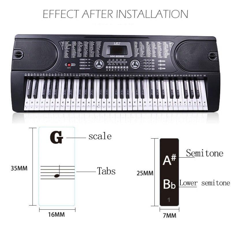 Piano Stave Note Sticker Transparent Piano Keyboard Sticker For 54/61/88 Key Electronic Keyboard 88 Key sticker