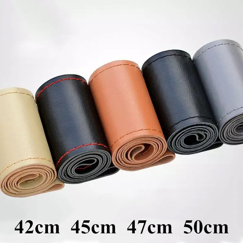 DIY 42 45 47 50cm Steering Wheel Covers Genuin Leather Braid On The Steering-wheel Of Car With Needle And Thread Car Accessories