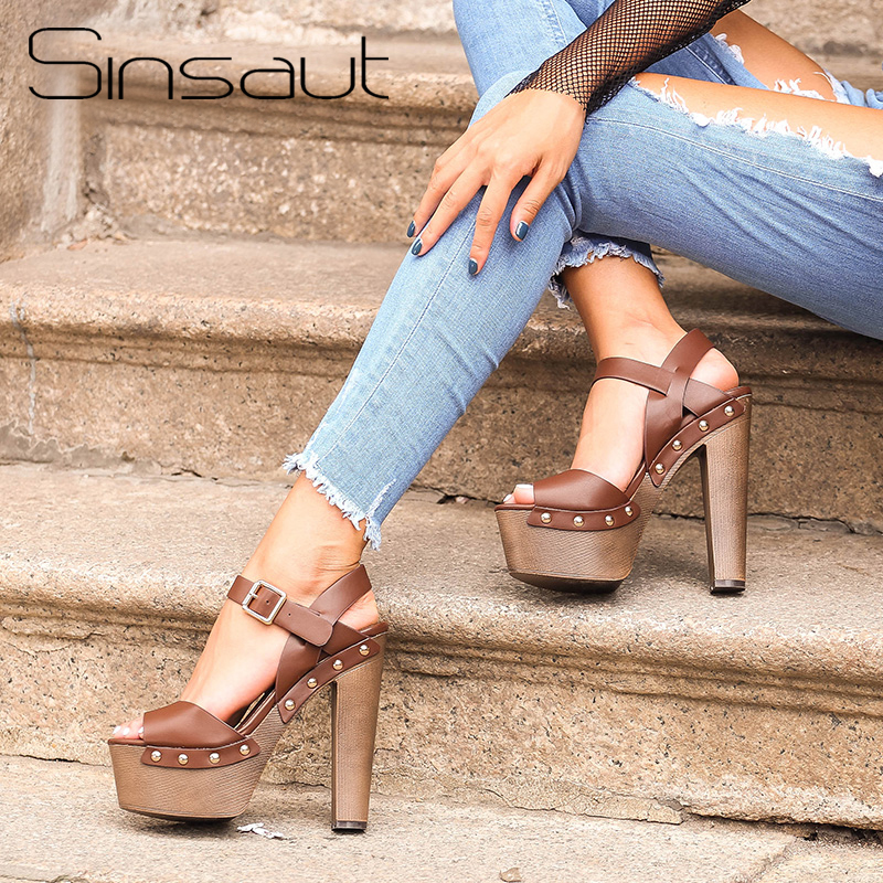 Sinsaut summer shoes sandals wedges shoes for women high heels peep toe ankle strap platform sandals with rivet zapatos mujer