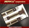 Homens de couro genuíno suspensórios suspensórios 3 faixa elástica de clips de chaves de L120cm W3.5cm