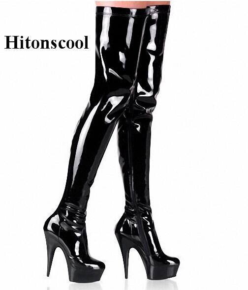Frauen Marke Stiefel Cm Über 15 Das Beige High Plus 45 Schuhe Heels Sexy 2019 Größe Plattform Partei Mode Knie 35 Super schwarzes Frau wPvOAqI