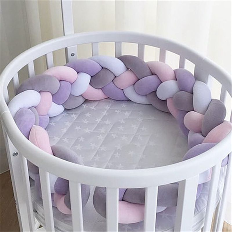 200CM Newborn Baby Bed Bumper Four Ply Handmade Long Knotted Braid Weaving Baby Crib Protector Room Decor Infant Pillow ZT06 2m length nodic knot newborn bumper long knotted braid pillow baby bed bumper in the crib infant room decor