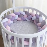 200CM Newborn Baby Bed Bumper Four Ply Handmade Long Knotted Braid Weaving Baby Crib Protector Room Decor Infant Pillow ZT06
