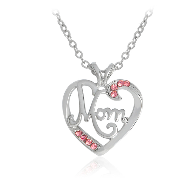 Love mom heart pendant necklace for women with crystal silver love mom heart pendant necklace for women with crystal silver necklaces fashion mother jewelry best gift mozeypictures Images
