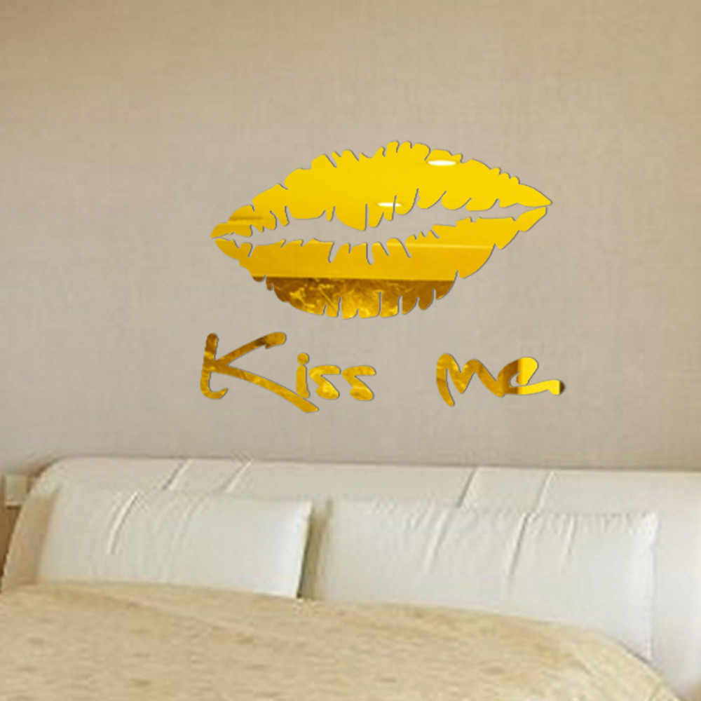 30*25 cm Removable Kiss Me Mirror Wall Sticker Decal Art Mural Home Room Decor Dec11