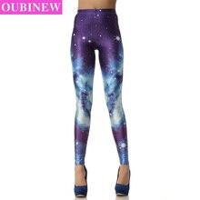 OUBINEW Cosmic Space Printed Leggings Sexy Fitness Women Fashion Gothic Creative Shape Elastic Pants Capri Workout Leggings