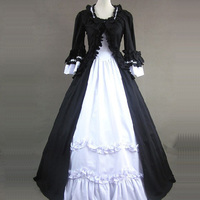 Customized black and White Cotton Gothic Victorian Dresses Classic Square Collar Long Flare Sleeve Cosplay Ball Gowns For Women