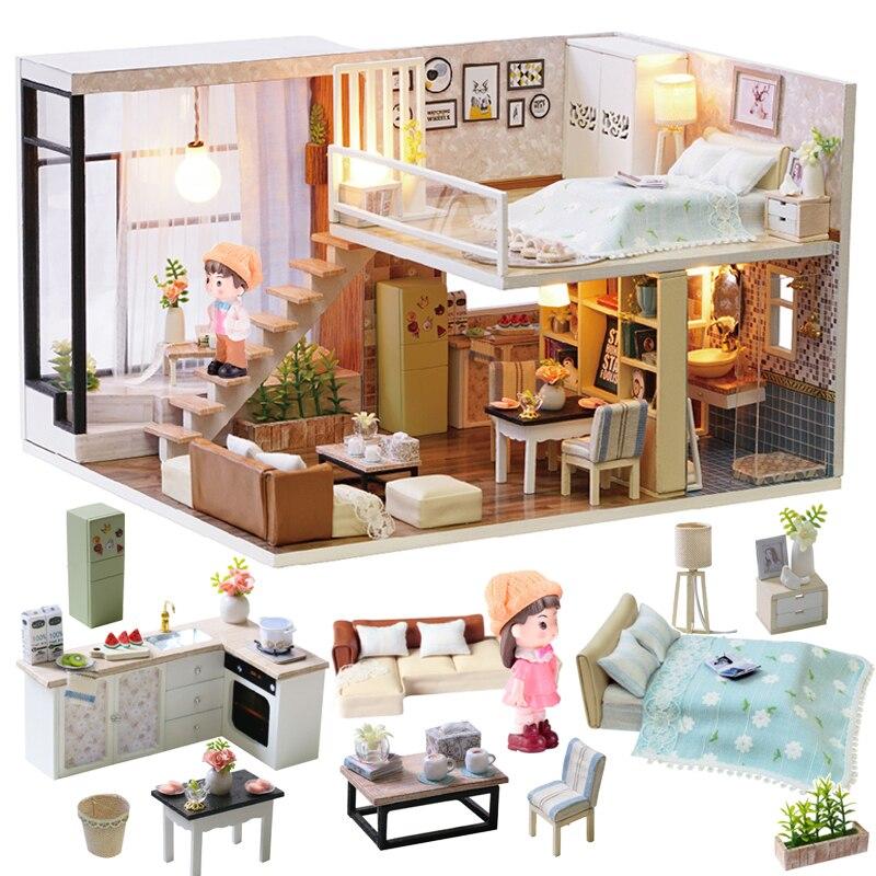 Cutebee Doll House Furniture Miniature Dollhouse DIY Miniature House Room Box Theatre Toys For Children Stickers DIY Dollhouse E