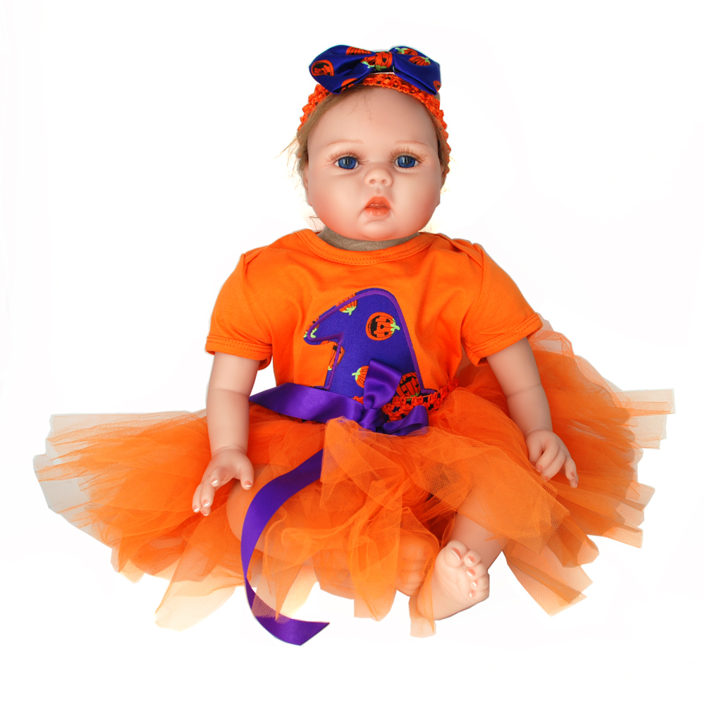 NicoSeeWonder 22 Inch Boneca Bebe Reborn Baby Dolls Cotton Bady Lifelike Reborn Toddler Toys With Orange Skirt Clothes For Gift short curl hair lifelike reborn toddler dolls with 20inch baby doll clothes hot welcome lifelike baby dolls for children as gift