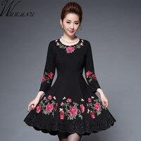 Wmwmnu 2017 New Arrival Autumn Winter Women High Grade Elegant Retro A Line Embroidery Dresses