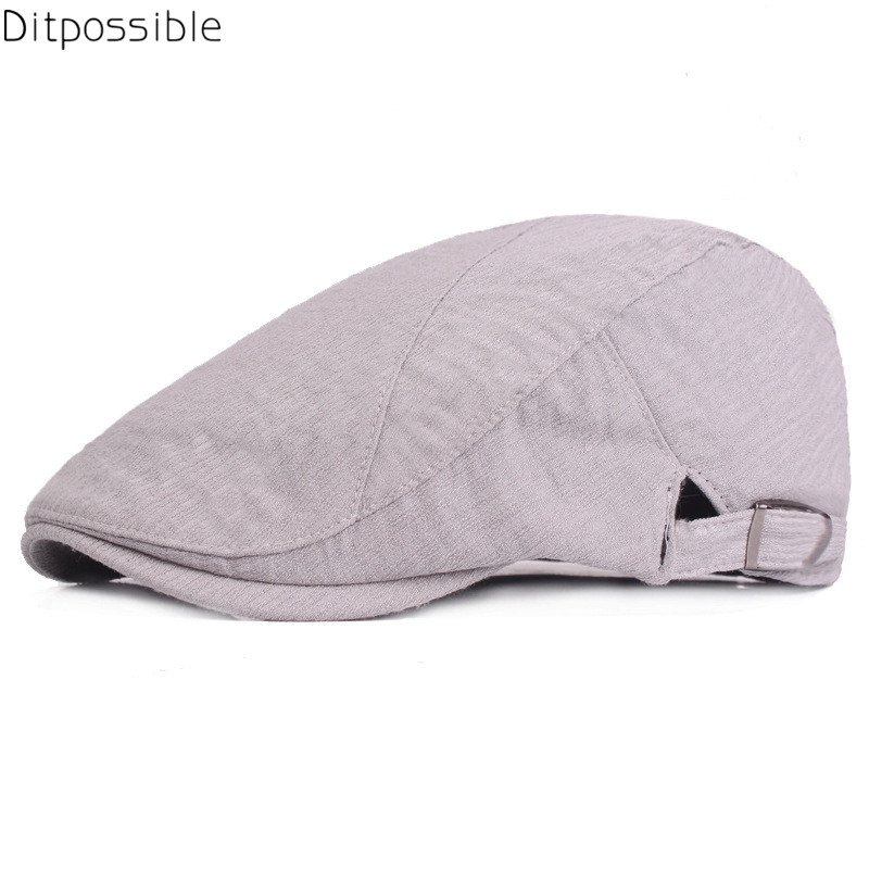 c805b082 Ditpossible 2018 New Spring Summer Hats for Men Women Cotton Linen Beret  Gorras Flat Caps Male