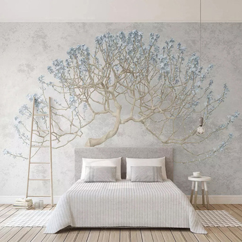 Custom Photo Wallpaper 3D Stereo Tree Branch Murals Living Room Bedroom Background Wall Painting Modern Simple Papel De Parede custom 3d photo wallpaper green forest scenery large wall painting living room bedroom background wall mural papel de parede 3d