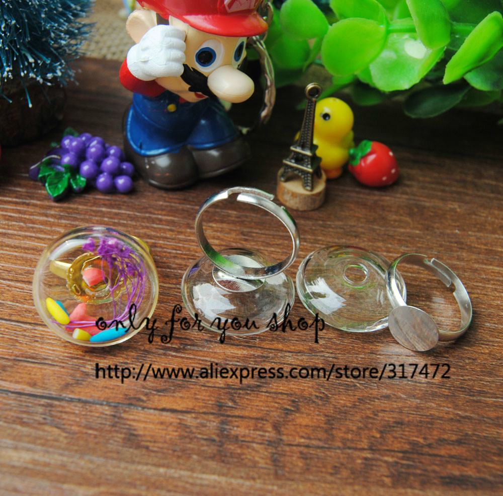 Free ship! 20mm Glass Bubble& Ring DIY Jewelry Findings (Silver Plated/Gold /Antique Bronze Ring can choose)