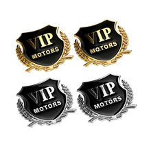 2 stks/partij 3D Logo VIP MOTORS Metalen Auto Chrome Emblem Badge Decal Deur Venster Lichaam Auto Decor DIY Sticker Auto decoratie Styling(China)