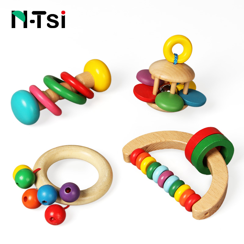 N Tsi Wooden Baby Rattles Grasp Play Game Teething Infant Early Musical Educational Toys for Children Newborn 0 12 months Gift-in Baby Rattles & Mobiles from Toys & Hobbies