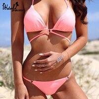 Push Up Padded Strappy Women Swimwear Bandeau Swimsuit Orange Pink Colors Sexy Bikini Set Brazilian Bikini Maillot De Bain 2017