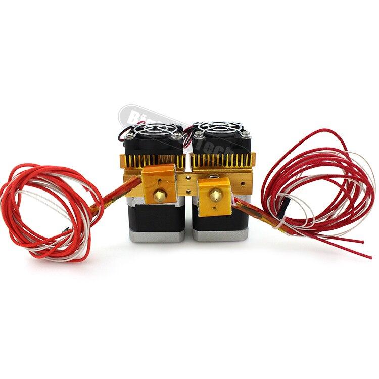 Date Mk8 12 v Double Tête Buse Extrudeuse Double Tête D'impression Pour Makerbot 3D Imprimante Avec 1.75mm en métal fournitures livraison rapide