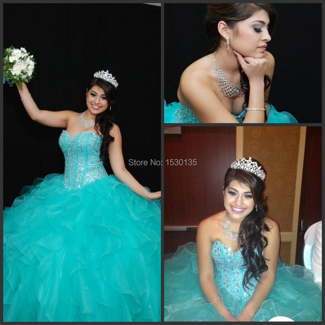 a3fdc33339a Sweetheart Quinceanera Dresses Top Selling Corset Princess Ball Gown Beaded  Bodice Turquoise Organza Pageant Prom Dresses HYD771