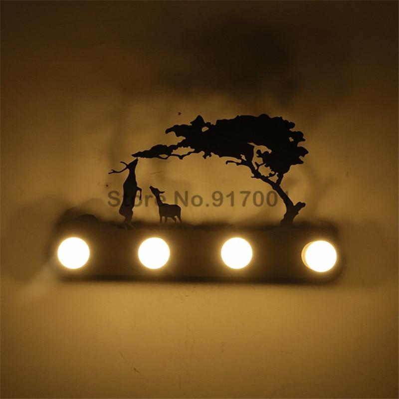 Amerikaanse stijl loft Industriële metalen LED wandlamp restaurant slaapkamer pony herten Kerstman windmolen wandlamp Verlichting Armatuur - 5