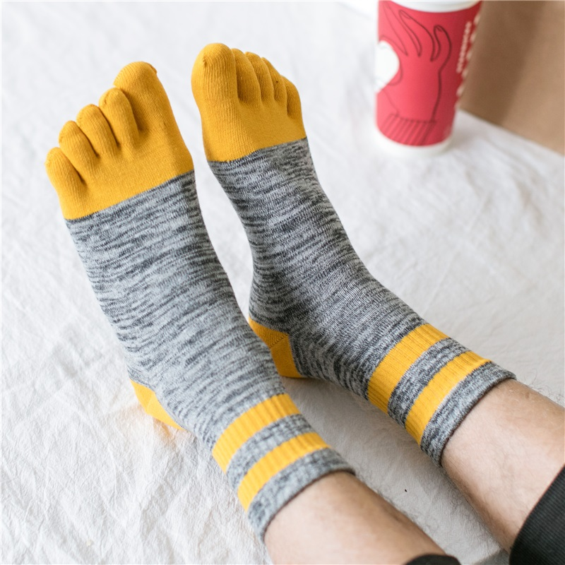 3 Pairs Men's Winter Thick All Cotton Five Fingers Socks Toes Colorful Men's Socks