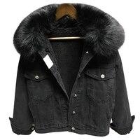 Autumn Winter Big Fur Collar Denim Jacket Women Thick Warm Lambswool Jeans Jacket Fashion Large size Loose Outerwear Women Coat