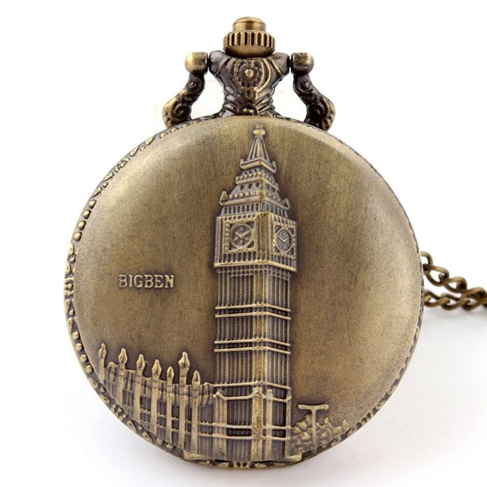 Bronze Vintage Retro New Nice BIGBEN Landmark Carving Quartz Pocket Watch With Necklace Chain Men Women Boy Best Gift