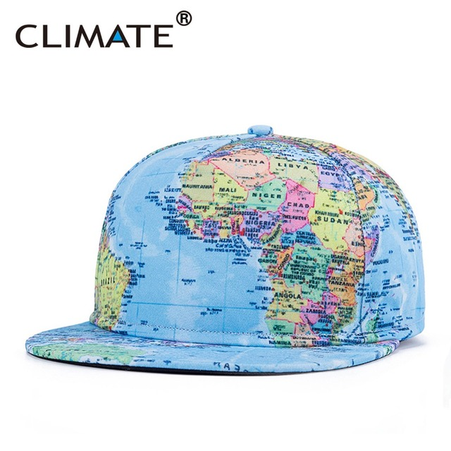 2b61c6a2160a2 CLIMATE Dancer Unique Novelty Geography World Map Printing Snapback Caps  Adjustable Africa Men Women HipHop Hat