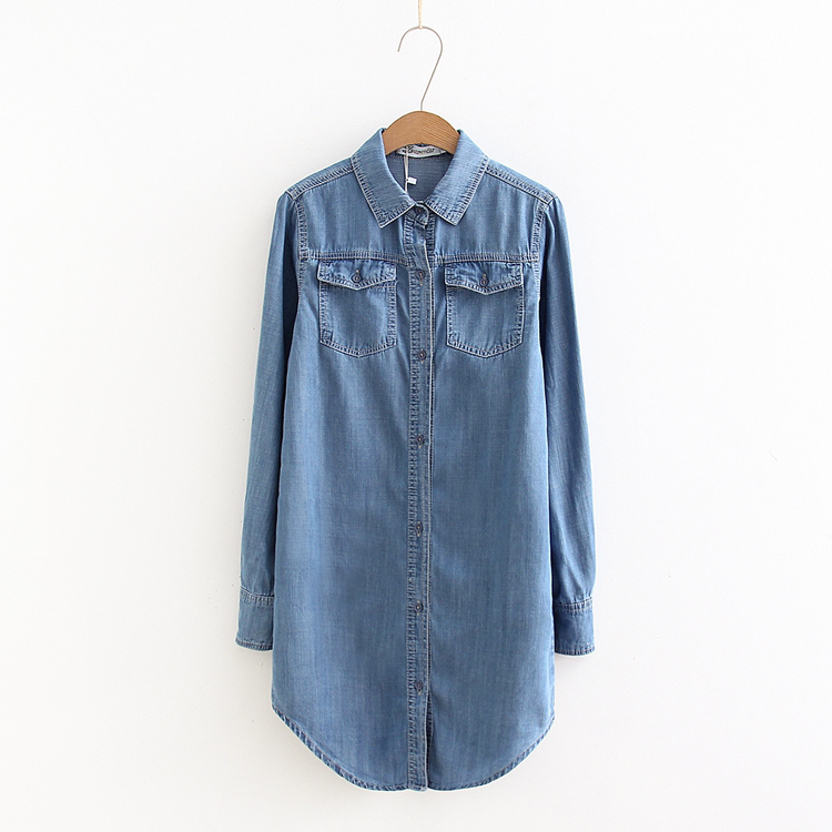 Female Vintage Slim Long Sleeves Denim Shirts, Blue Fashion Casual blusas y camisas mujer With Pockets