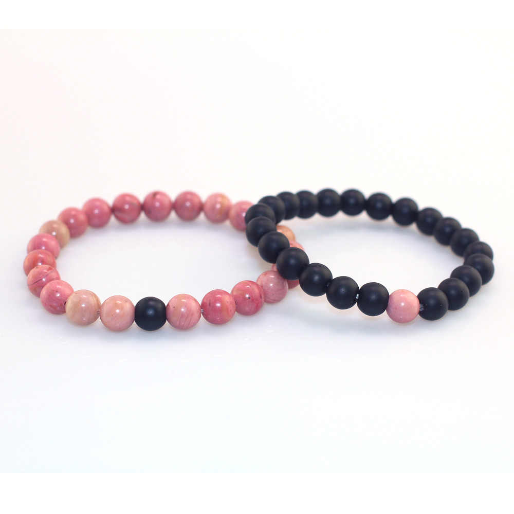 Bracelet Jewelry Couple Bracelets Boho Chakra Gifts Natural Pink Wood Grain Stones Beads Strand Yoga Beaded Energy Meditation