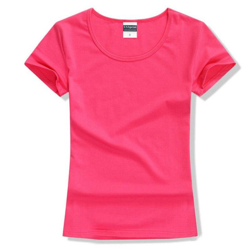Nueva marca de moda camiseta de las mujeres tops de algodón de manga corta para las mujeres que arropan La camiseta sólida del o-cuello, envío libre