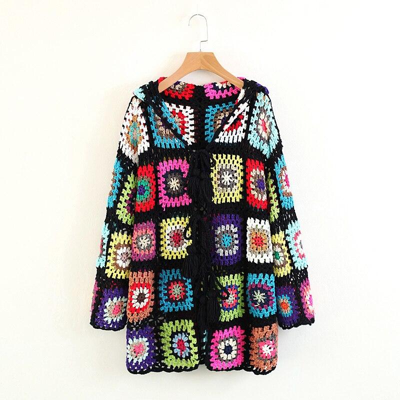 Women Spring Autumn Fashion Bohemian Handmade Hollow Out Crochet Tassel Hooded Sweater Holiday Outside Geometric KnittedCardigan