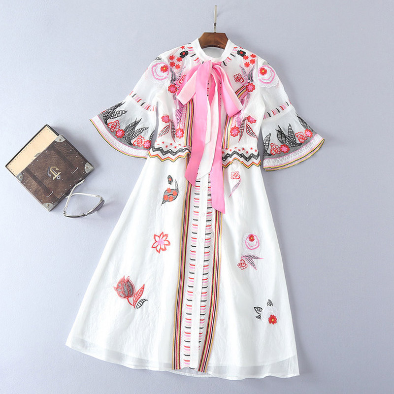 white embroidery dress pink lace up bow collar flare sleeve a line midi dress vintage high