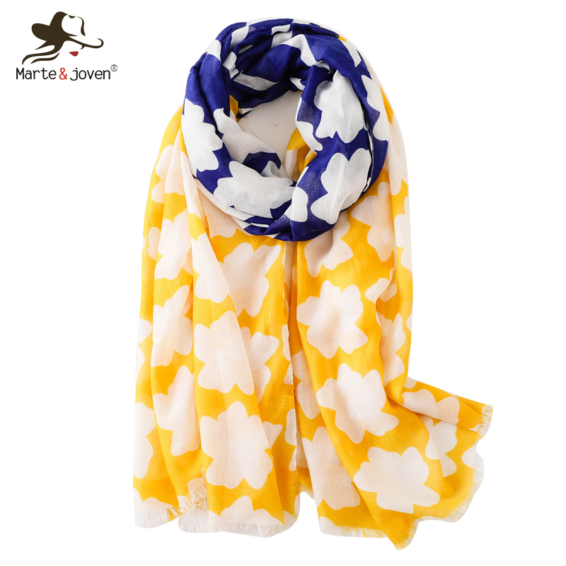 Clever Marte&joven Women Irregular Geometric Striped Fringe Scarf Fashion Yellow Blue Patchwork Spring Autumn Soft Long Shawls Pashmina