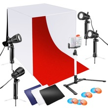 Neewer 24x24 inches Tabletop Photography Lightbox Light Tent Lighting Kit with LED Light/Color Backdrops/Gel Filters/Stand